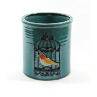 Desen Home Kuş Motifli Mavi Vazo