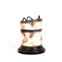 Kanca Ev Antik Sütun Görünümlü Üstü Demirli Toprak Vazo 25 cm