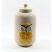 Desen Home Sarı Baykuşlu Beyaz Vazo Büyük