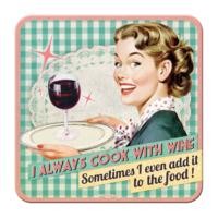 Nostalgic Art 2 Li Cook With Wine Bardak Altlığı 9 x 9 cm