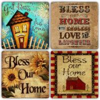 Oscar Stone God Bless Thıs Home Bardak Altlığı