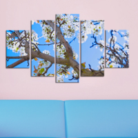 Casa De Arte 5 Parça Kanvas Tablo Mavi Ağaç