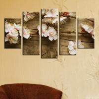 Casa De Arte 5 Parça Kanvas Tablo Çiçekler Kahverengi