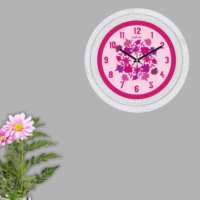 Cadran Dekoratif Vintage Çatlak Desen Duvar Saati Pembe Floral Çiçekler 188