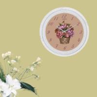 Cadran Dekoratif Vintage Çatlak Desen Duvar Saati Çiçek Sepeti 93