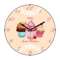 Cadran Lu x ury Sweet Kitchen Bombeli Cam Duvar Saati Cupcake Cl165