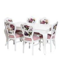 3A Mobilya Şımarık Yemek Odası Masa Ve Sandalye Desen Beyaz