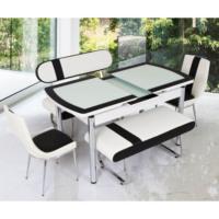 Gül Masa Oval Kelebek Masa Bank Takımı Beyaz Siyah Bantlı