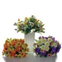 Vitale Rengarenk Yapay Buket Çiçek - (Beyaz - Mor)