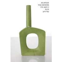 Vitale Yeşil Modern Stil Asimetrik Vazo