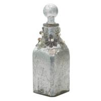 Casa Di Mona Metal Süslemeli Gümüş Patineli Dekoratif Cam Şişe2