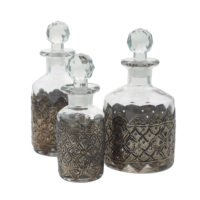 Casa Di Mona Üçlü Gümüş Eskitme Metal Aksesuarlı Cam Kapaklı Şişe Seti
