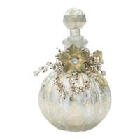 Casa Di Mona Altına Gümüş Patine Boncuk Süslemeli Dekoratif Kapaklı Küçük Şişe