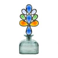 Evlina Home Renkli Kristal Tıpalı Mavi Dekoratif Cam Şişe