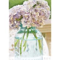 Fotocron Cam Vazoda Mavi Çiçekler Tablo