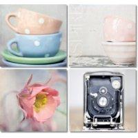 Fotocron Fincan Çiçek Fotoğraf Makinesi 4'lü Tablo