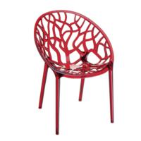 Şaziye Metal Crystal Sandalye Transparan Kırmızı