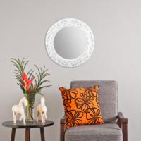 Carven Dekoratif Motifli Ayna Çatlak Beyaz
