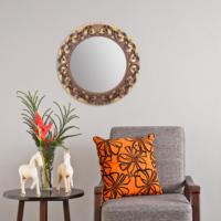 Carven Dekoratif Motifli Ayna Altın Kahve