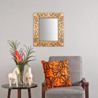 Carven Dekoratif Motifli Dikdörtgen Ayna Kahve Altın