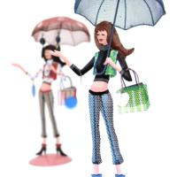 Kanca Ev Mavi Şemsiyeli Genç Kız Takı Askılığı