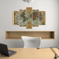 Dekorjinal 5 Parçalı Dekoratif Tablo Harita Desenli D5TP09