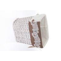 Kancaev Hasır Eskitilmiş Beyaz Çöp Sepeti, Dantelli