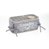 Hasır , Kapaklı Eskitilmiş Gri Sepet, Laundry, Küçük