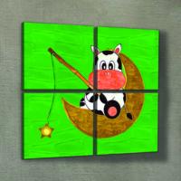 Artikel Sitting Cow 4 Parça Kanvas Tablo 70X70 Cm