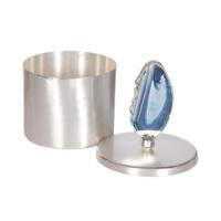 Mavi Taşlı Gümüş Rengi Dekoratif Kutu M