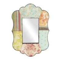 Patchwork Desenli Ahşap Duvar Aynası