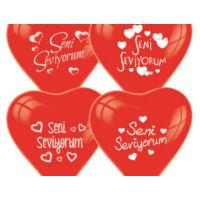 Toptancı Kapında Seni Seviyorum Yazılı 100 Lü Kalp Balon