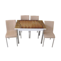 Mutfak Masası Takımı Cam Ahşap Oymalı Yan Açılır Masa+6 Krem Deri Sandalye