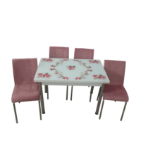Mutfak Masası Takımı Cam Pembegül Yan Açılır Masa +6 Pembe Tay Tüyü Kumaş Sandalye
