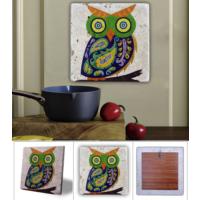Oscar Stone Mavi Yeşil Baykuş Doğal Taş Tablo - 20X20 Cm