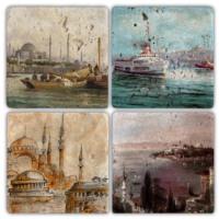Oscar Stone İstanbul 5 Bardak Altlığı