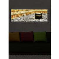 Mekke Kabe İçten Aydınlatmalı Kanvas Tablo -30X90