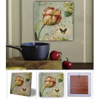 Oscar Stone Çiçek Kelebek Doğal Taş Tablo - 20X20 Cm