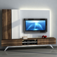 Sanal Mobilya Hayal Tv Ünitesi 12346 - Leon Ceviz-Parlak Beyaz