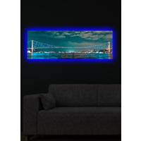 Boğaz Köprüsü Arkadan Aydınlatmalı Kanvas Tablo - 30X90 Cm Mavi