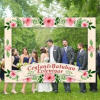 BuldumBuldum Çiçekli Evlilik Fotoğraf Çerçevesi