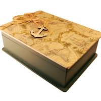 Ahşap Tasarım Bölmeli Kutu Harita