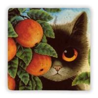 Oscar Stone Cat İn Garden Taş Tablo