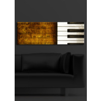 Piyano Tuşları İçten Aydınlatmalı Kanvas Tablo -30X90