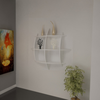Sanal Mobilya Elips Small Modern Kitaplık - Parlak Beyaz