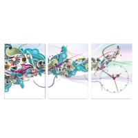 3 Parça Kanvas Saat - Renkli Desenler