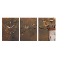 3 Parça Kanvas Saat - Kuru Çiçekler