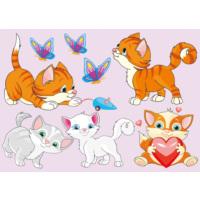 Dekorjinal Sevimli Kediler Çocuk Sticker - Kd46