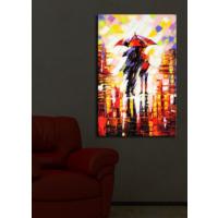 Şemsiyeli Çift İçten Aydınlatmalı Kanvas Tablo -45X70