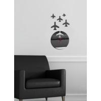 Dekoratif Kırılmaz Ayna Saat Uçak